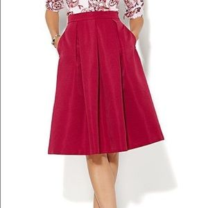 New York & Company Magenta Pleated Full Skirt
